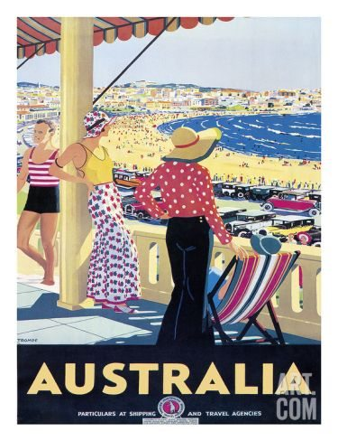 Australia Vintage Beach Travel Print