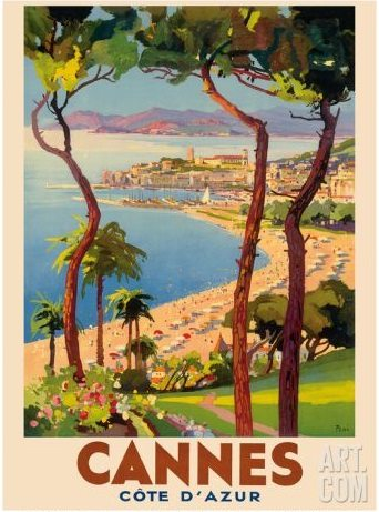 Cannes Travel Poster Cote D'Azur France