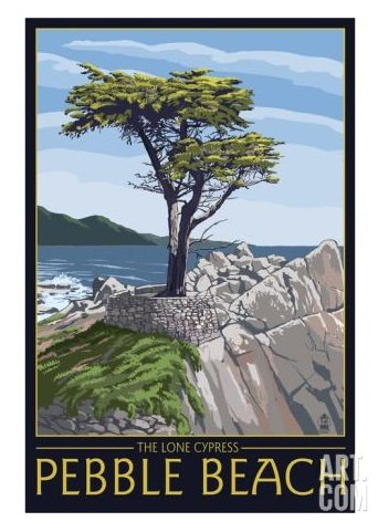 Pebble Beach Travel Art Poster