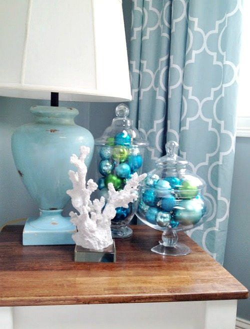 Blue Christmas Ball Ornaments in Glass Jars