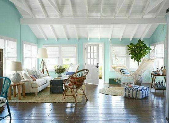 Aqua Painted Walls In A Bungalow Featured On Completely Coastal Seaglass Green Color Palette
