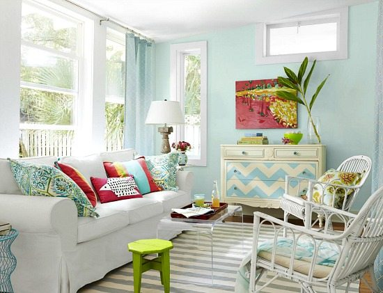 Bon Beach Cottage Living Room In Blue Pink And Green