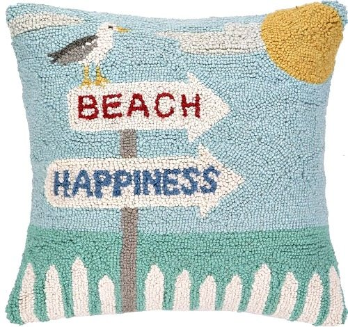 Beach Happiness Pillow with Seagull