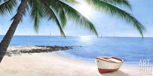 Lone Boat on Beach Painting