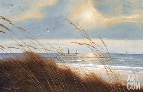 Beach Painting with Sailboats