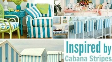 Create a Beach Vacation Feeling in your Home with Blue Cabana Stripes