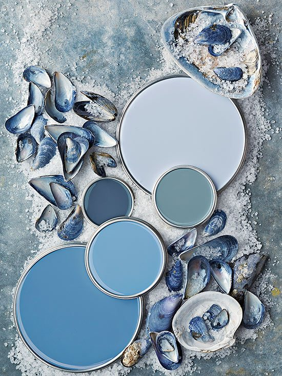 Coastal paint color schemes inspired from the beach for Blue gray paint palette
