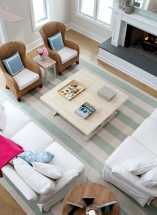 Cabana Stripe Blue and White Rug
