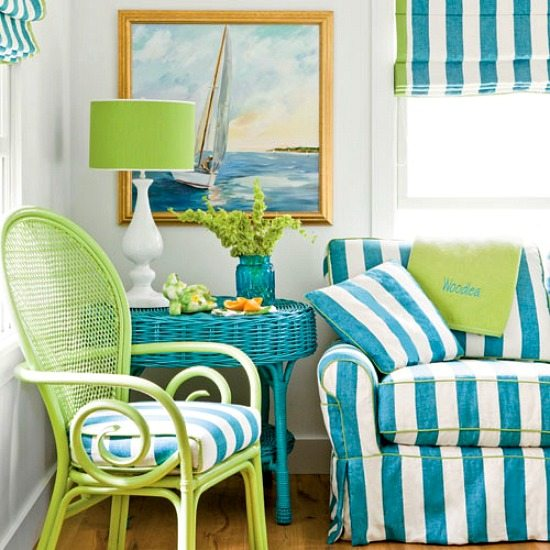Blue and White Cabana Stripe Decor