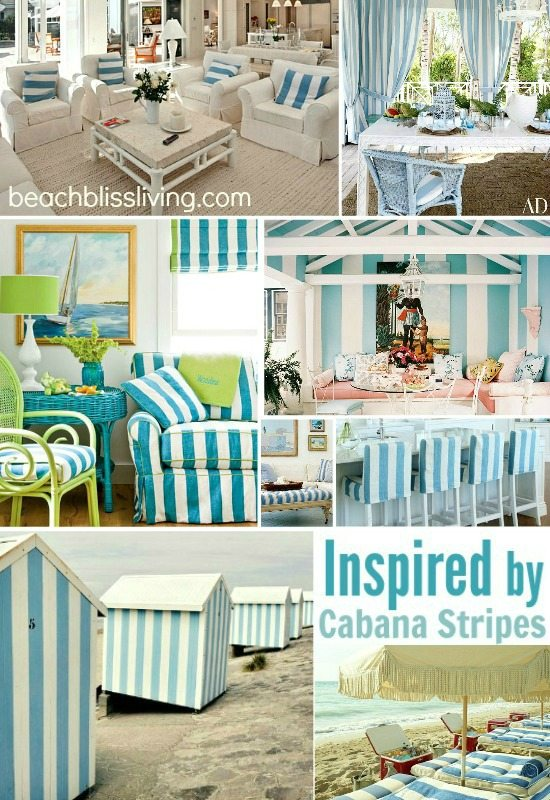 Blue Cabana Stripe Decor