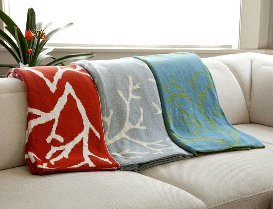 Cozy Beach Throws with Coral Pattern