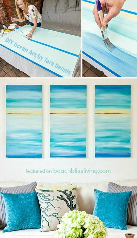 create a soothing beach vibe with easy diy ocean canvas