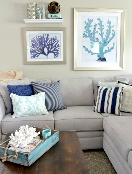 Gray Walls With Beach Decor Warm Color Scheme