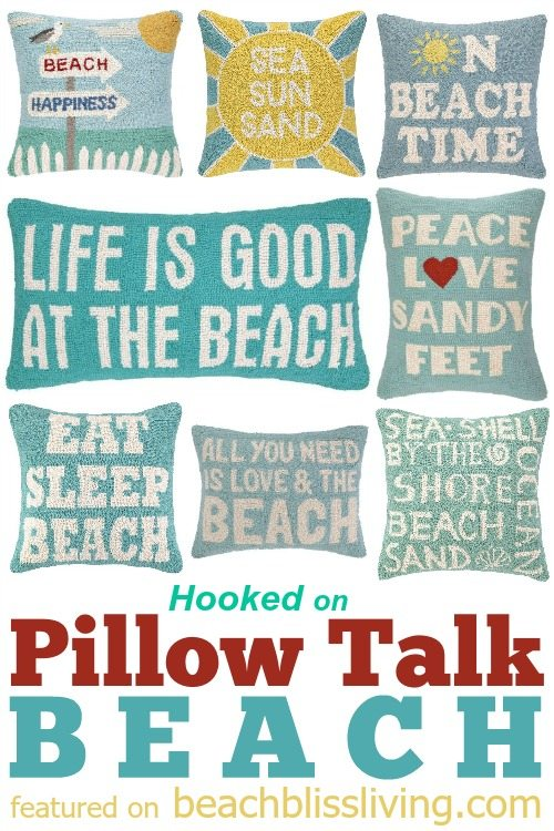 Hooked Beach Pillows with Words and Sayings