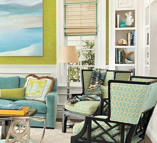 Sophisticated Sunset Key Florida Home Filled With Sunny Yellow Lime Green Aqua Blue Beach