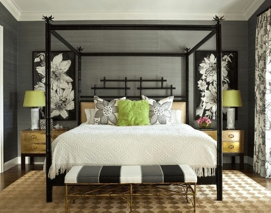 Key West Home Master Bedroom with Bamboo Poster Bed