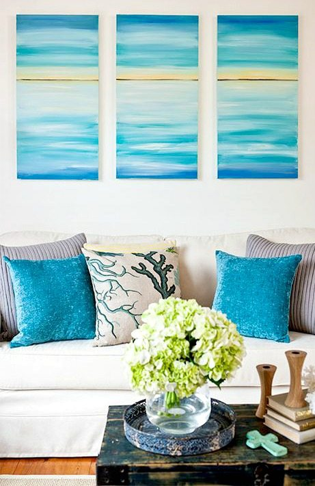 DIY Ocean Beach Art above Sofa