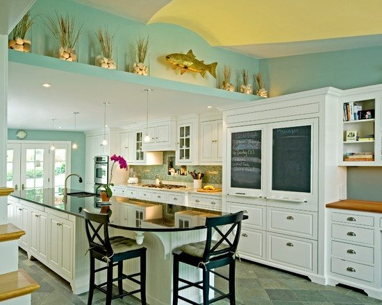 Seaglass Green Painted Walls Kitchen