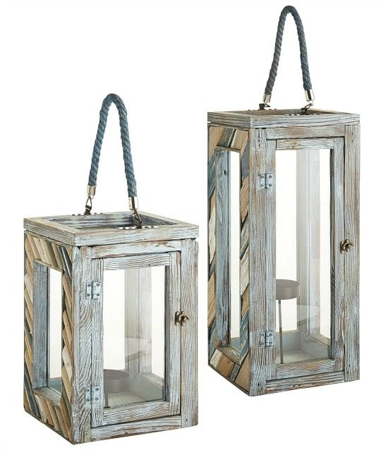 Seaside Blue Wood Lanterns