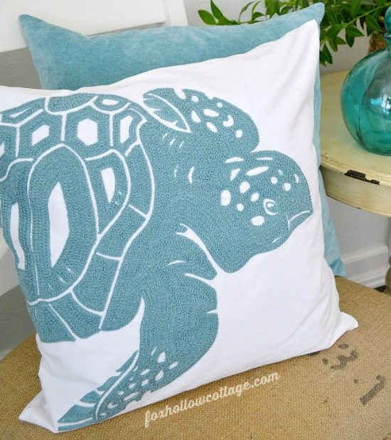Aqua blue Sea Turtle Pillow