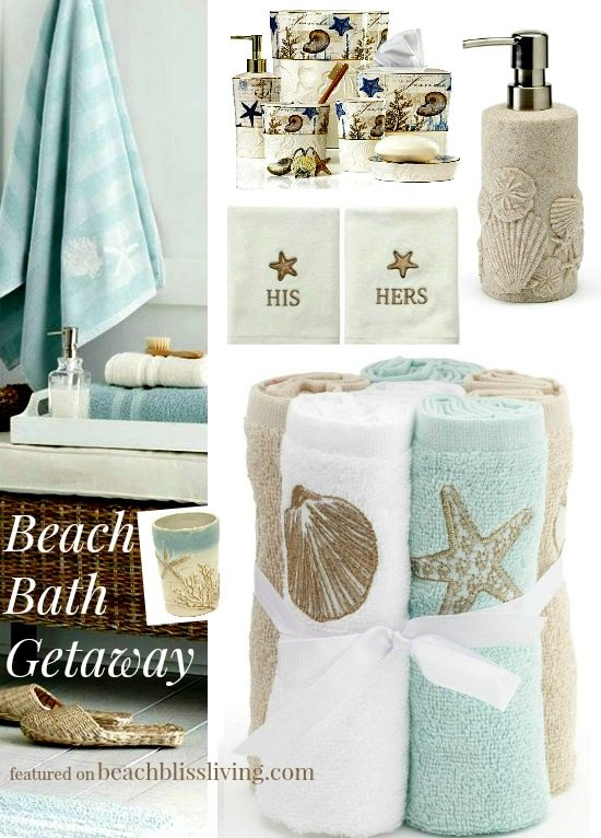 decorate your bathroom with these beach themed accessories