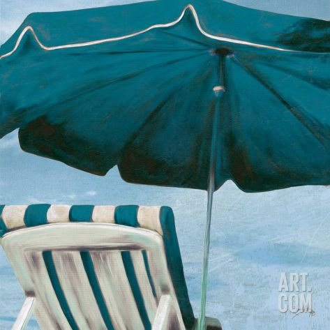 Blue Beach Art Print Chair and Umbrella