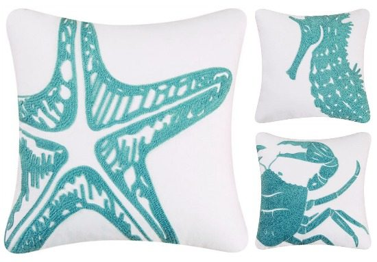 Blue Seahorse Starfish Pillow