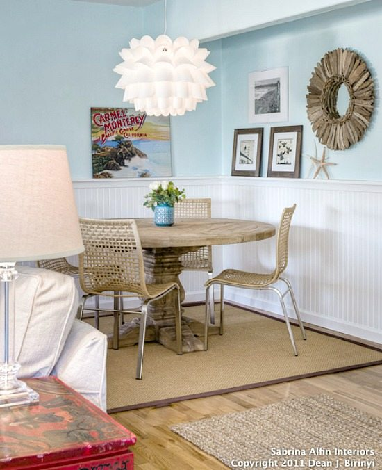 Blue Neutral Driftwood Look Living and Dining Room