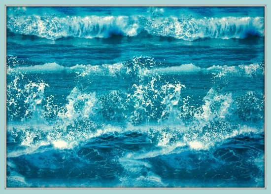 Blue Ocean Waves Fabric