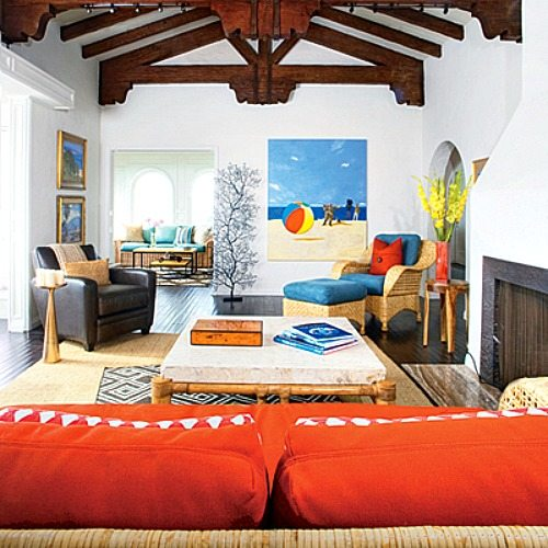 bright blue and orange for a happy laguna beach home beach bliss living. Black Bedroom Furniture Sets. Home Design Ideas