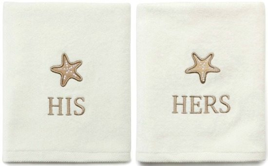 His and Hers Beach Bath Towel with Starfish Design