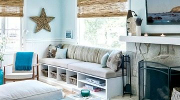Light Blue Decor Living Room and Natural Driftwood Materials