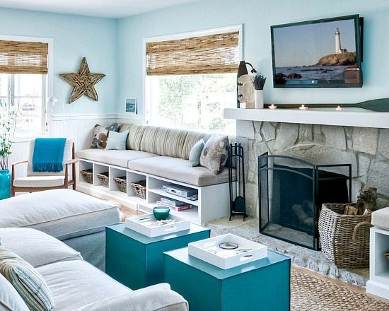 Pale Blue Natural Cottage Living Room