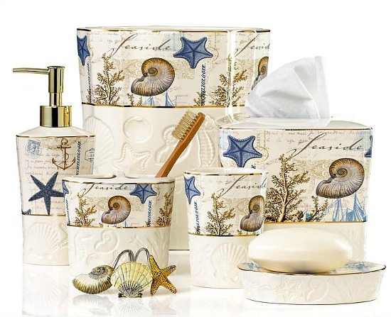 Decorate your bathroom with these beach themed accessories for Sea bathroom accessories