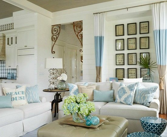 Awesome Beige Blue And White Beach House Decor Living Room