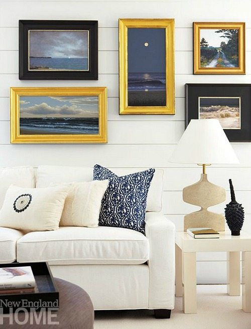 Beach photo gallery wall above sofa living room decor for Decor over couch