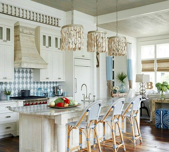 Oyster Shell Chandeliers over Kitchen Island