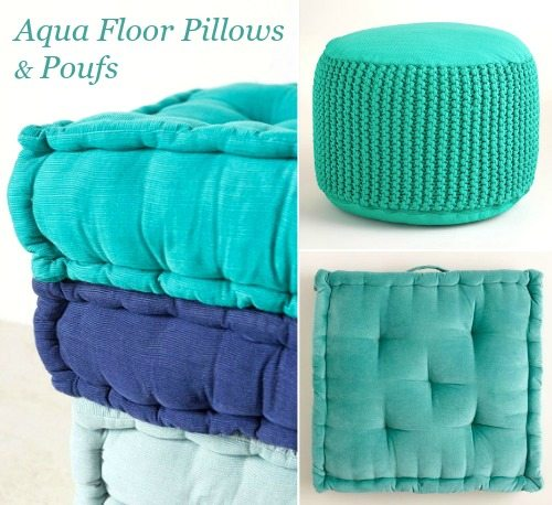 Aqua Floor Pillows and Pouf