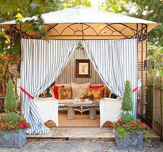Bring a beach cabana to the backyard for the ultimate for Garden cabana designs