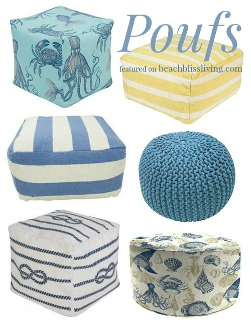 Beach Coastal and Nautical Poufs