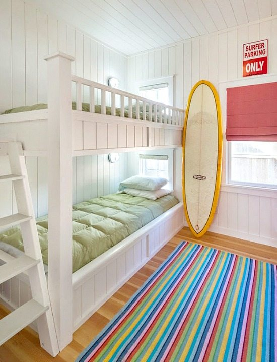 Cottage Bunk Bedroom with Surfboard