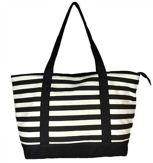 Black and White Stripe Canvas Tote Bag