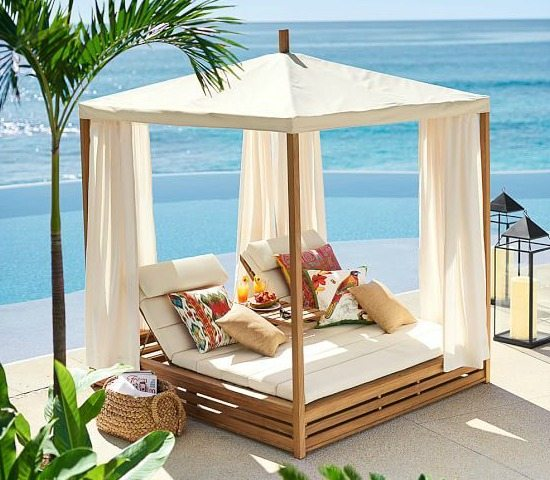 bring a beach cabana to the backyard for the ultimate lounging experience beach bliss living. Black Bedroom Furniture Sets. Home Design Ideas