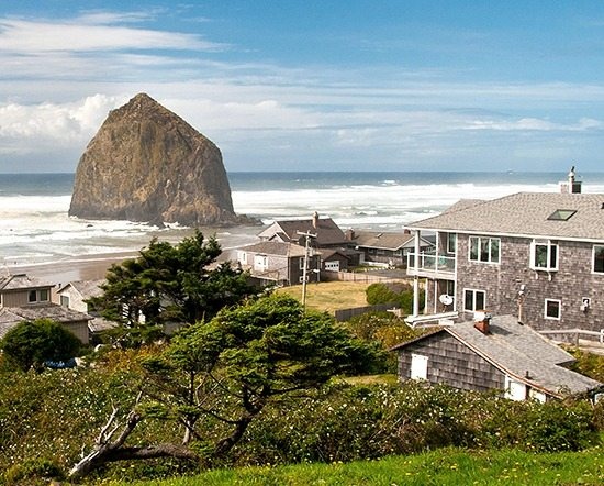 Cannon Beach Town with Haystack Rock