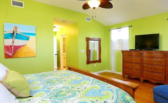 Beach Cottage With Bright Blue Yellow Lime Green Painted Walls Beach Bliss Living