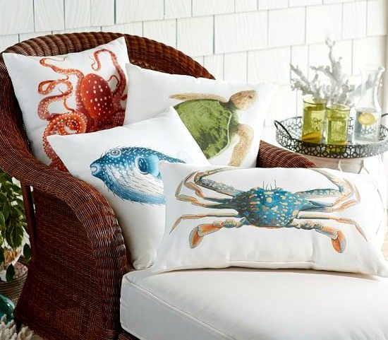 Outdoor Beach Pillow with Sea Life