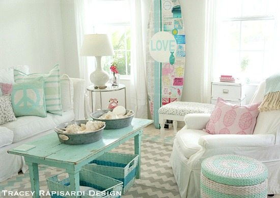 Pastel Turquoise Aqua Cottage Living Room