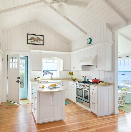 Small Open White Cottage Kitchen