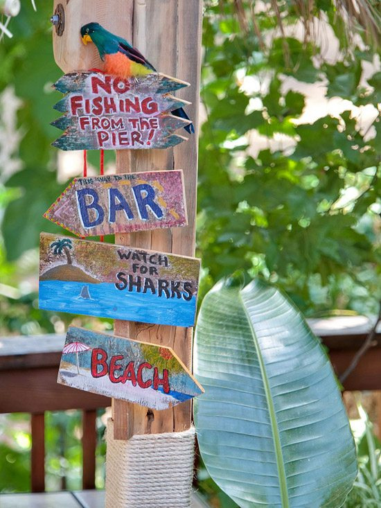 Tropical Destination Sign in Backyard
