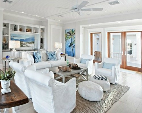 White Beach Poufs Living Room